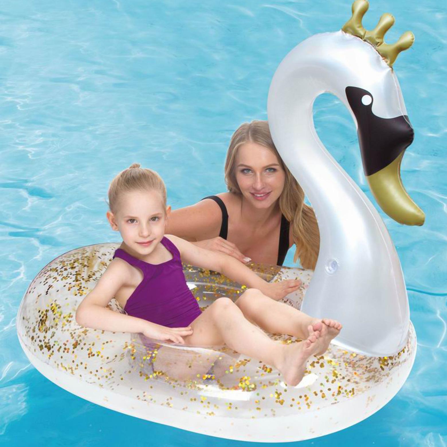 Zilver-gouden zwaan opblaasbare ride-on-luchtbed 71 x 113 x 90 cm kids speelgoed