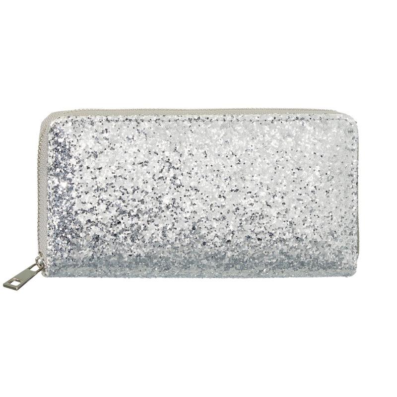 Zilveren glitter portemonnee voor dames 19 cm