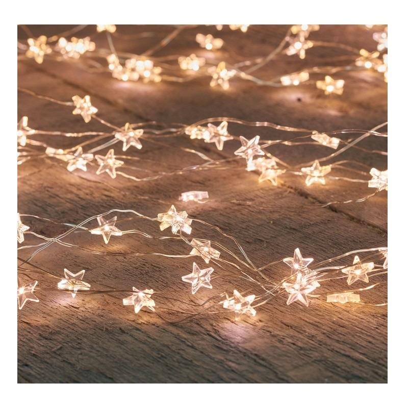 Zilveren kerstverlichting sterren met timer warm wit 1 meter