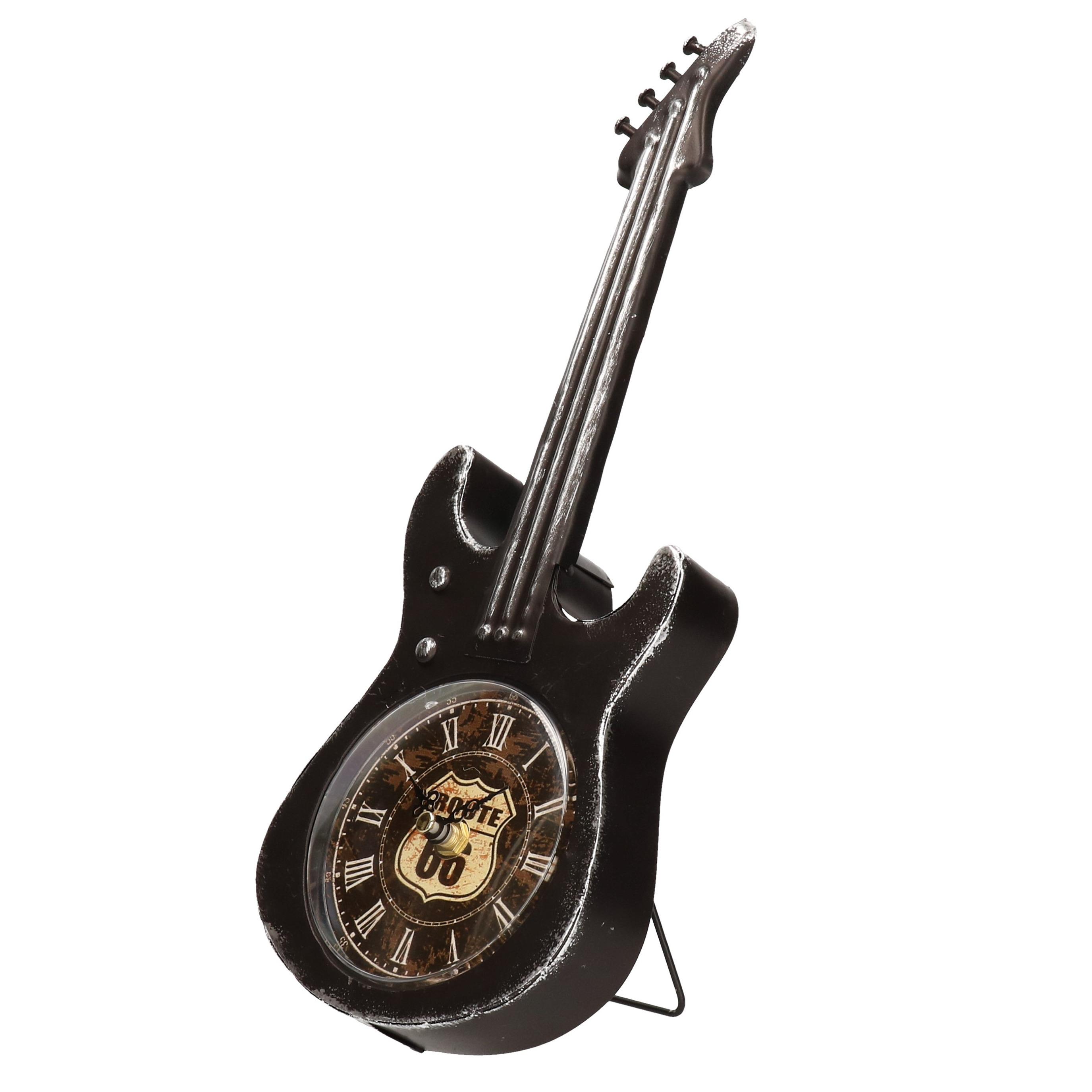 Zwarte elektrische gitaar klok 34 cm